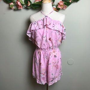 MinkPink Pink Floral Romper Sz Medium